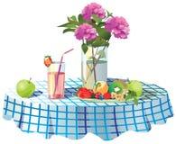 Na stole jest wewnątrz waza kwiaty, talerz owoc i sok, ilustracja wektor