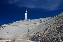 Na szczycieFAL TG0 0N w tym stadium halnego Mont Ventoux Zdjęcia Stock