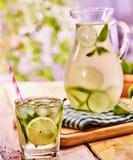 Na tabela de madeira é o jarro de vidro com bebida transparente Imagem de Stock Royalty Free