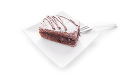 Na talerzu czekolada tort Obrazy Stock