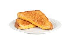 Na talerzu piec na grillu serowa kanapka fotografia stock