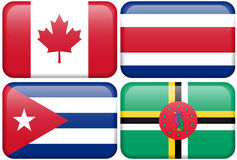 Na-Tasten: Kanada, Costa Rica, Kuba, Dominica vektor abbildung