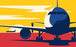 Na taxiway Mieszkanie stylowa wektorowa ilustracja samolot przy ilustracji