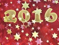 2016 na tela vermelha com estrelas Imagem de Stock Royalty Free