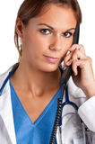 Na Telefonie kobiety Lekarka Obrazy Royalty Free