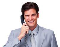 Na telefonie pozytywny męski kierownictwo Zdjęcia Stock