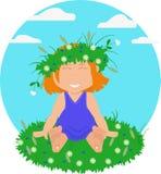 Na trawie dziewczyny obsiadanie ilustracji