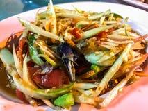 Na ulicznej Tajlandzkiej zielonej melonowiec sałatce, Som Tum, Bangkok, kapitał uliczny jedzenie, Tajlandia Normalnie dobierać do Obrazy Stock