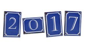 2017 na ulicznych błękitnych talerzach Zdjęcie Royalty Free