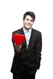 Na valentine dzień młody szczęśliwy biznesowy mężczyzna Obraz Royalty Free