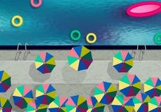 na widok Pływacki basen, parasole, pływa okręgi Wakacje basenem ilustracja ilustracja wektor