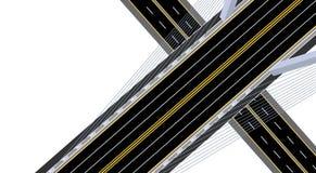 na widok Zawieszony droga most z autostradą i drogą ilustracja ilustracja wektor