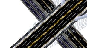 na widok Zawieszony droga most z autostradą, koleją i drogą, ilustracja ilustracji