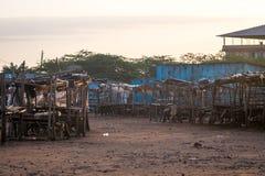 Na wolnym powietrzu rynek - wczesny poranek w Taveta, Kenja zdjęcie stock