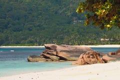 Na wybrzeżu podpalany Lazare Mahe, Seychelles Obraz Royalty Free