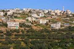 Na zachodni banku Palestyński Husan miasteczko fotografia stock
