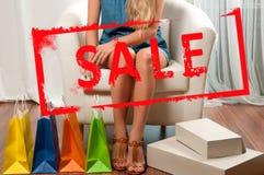 na zakupy torby na zakupy kobiety Wakacje sprzedaż Zdjęcia Stock