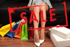 na zakupy torby na zakupy kobiety Wakacje sprzedaż Obrazy Royalty Free