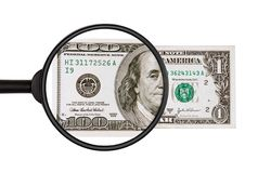 $ 1 na zamkniętą inspekcję z powiększać - szkło zostać $ 100 Obrazy Royalty Free