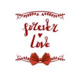 ` Na zawsze miłości ` wektoru ręcznie pisany listy z łękiem Obraz Stock