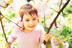 Na zawsze potomstwa i uwalniają małe dziecko naturalne piękno Children dzień Wiosna prognoza pogody twarzy skincare alergia obrazy stock