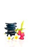 Na zen kamieniu czerwony i biały frangipani Obraz Royalty Free