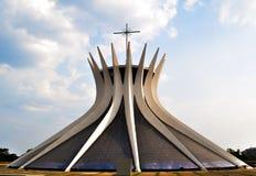 Na zewnątrz BrasiliaCathedral zdjęcie royalty free