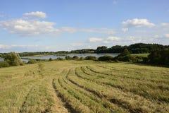 Na zewnątrz miasta pole - wiejski krajobraz - Zdjęcia Stock