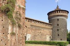 Na zewnątrz Sforza Castel w Mediolan, Włochy Fotografia Stock