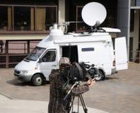 Na zewnątrz wyemitowanej kamery telewizyjnej Zdjęcia Stock