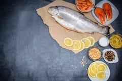 Na zmroku - szarzy tabletop kłamstwa ryba w Kraft brązu papierze z równie dużo jak milion pieprzy sól i szkło maślany łosoś i obrazy royalty free