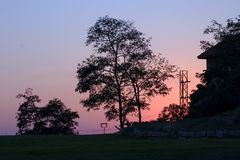 Na zonsondergang stock foto's