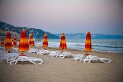 Na zonsondergang Albena Beach Bulgaria Sea Royalty-vrije Stock Afbeelding