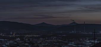 Na zonsondergang in Usti-nad Labem Stock Foto