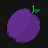 Naad violette pruim met schaduw Stock Afbeeldingen