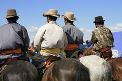 Naadam的, Karakorum,蒙古观众。 免版税库存照片