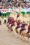 Naadam节日开幕式九白色横幅 库存照片