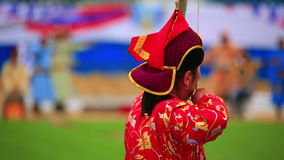 Naadam Festival Archery Tournament. Archer at Naadam Festival Archery Tournament, Mongolia stock video