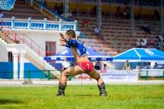 Naadam-Festival-Ringkämpfer, der Eagle Dance feiert Lizenzfreie Stockfotografie