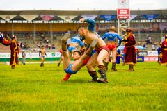 Naadam Festival Wrestling Boy Thrown Down Match Royalty Free Stock Photography