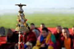 Naadam-Festivaltätigkeiten Lama-Instrumenterz-massengut-öl Stockbilder