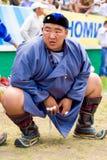 Naadam festiwalu zapaśnika Wagi ciężkiej kucanie Obraz Royalty Free