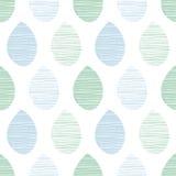 Naadloos aard vectorpatroon Blauwe en groene bladeren met lijnen op witte achtergrond Hand getrokken stoffenornament Stock Foto's