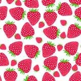 Naadloos aardbeienpatroon Zoete aardbeien Stock Foto