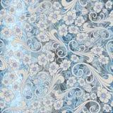 Naadloos abstract blauw patroon de naadloze attern vector van Paisley oriënteer of het ontwerp van Rusland luxeversiering, bloeme stock illustratie