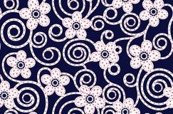 Naadloos abstract bloemenpatroon met marineachtergrond royalty-vrije illustratie