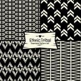 Naadloos Abstract etnisch vectorpatroon op zwart-wit achtergrond Royalty-vrije Stock Afbeelding