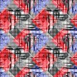 Naadloos abstract geometrisch grijs, rood, lilac en wit patroon Stock Afbeelding