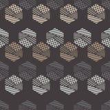 Naadloos abstract geometrisch patroon De vormen van zeshoeken Textuurstrepen, controles, punten Royalty-vrije Stock Foto's