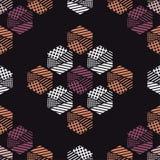 Naadloos abstract geometrisch patroon De vormen van zeshoeken Textuurstrepen, controles, punten Royalty-vrije Stock Afbeelding
